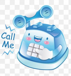 Blue Cartoon Phone - Telephone Booth Mobile Phone PNG
