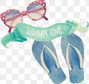 Flip Flops Clip Art - Vector Graphics Watercolor Painting Clip Art Illustration Slipper PNG