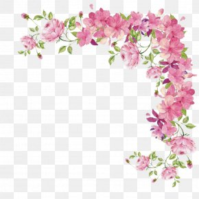 Flower Border - Pink Flowers Rose PNG