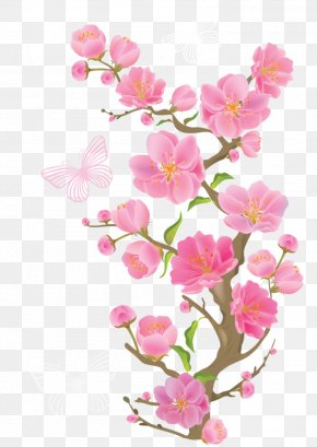 Spring Branch With Butterflies Clipart Picture - Pink Flowers Clip Art PNG