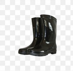 Black Rain Boots - Riding Boot Shoe Wellington Boot Designer PNG