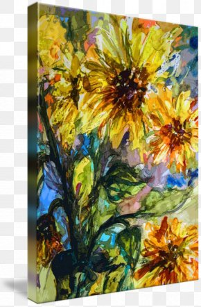 Watercolor Sunflower - Acrylic Paint Modern Art Watercolor Painting Still Life PNG