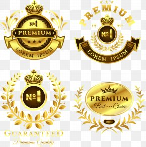 Vector Hand-painted Gold Label - Label Logo PNG