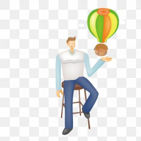 Satisfy Man Sitting On A Stool In A Hot Air Balloon - Chair Table Computer PNG