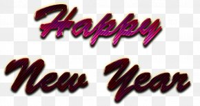 Magenta Happy New Year - Happy New Year Word Art PNG