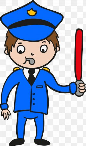 A Cartoon Whistle Policeman - Cartoon Police Officer PNG