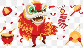Chinese Lion Dance Vector Material - Lion Dance Chinese New Year PNG