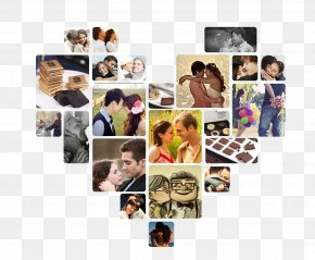 Heart-shaped Photo Album Material - Collage Chocolate Snack PNG