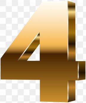 Number Four 3D Gold Clip Art Image - 3D Computer Graphics Clip Art PNG