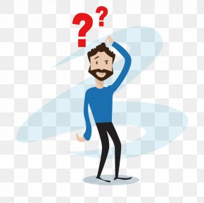 Confused Cartoon Man - Question Mark Icon PNG