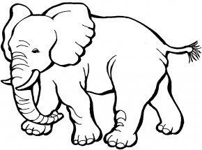 Elephant Cliparts - Coloring Book Elephant Child Page PNG