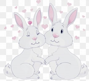Whiskers Animal Figure - Rabbit Rabbits And Hares White Cartoon Pink PNG