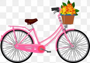 Vector Pink Bicycle Pattern - Racing Bicycle Cycling Step-through Frame Clip Art PNG