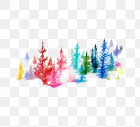 Watercolor Forest - Watercolor Painting Printmaking Illustration PNG