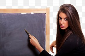 Tablet Computer Long Hair - Blackboard Writing Instrument Accessory Portrait Technology Writing PNG