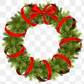 Green Christmas Pine Wreath With Red Ribbon Clipart Image - Christmas Decoration Christmas Tree Clip Art PNG