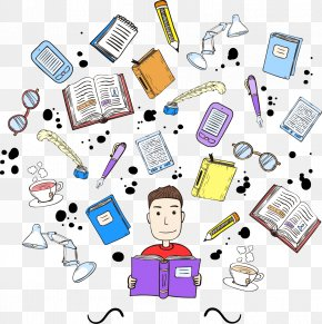 Man Reading Cartoon Vector Material - Student Learning Teacher Education School PNG