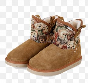 Printed Brown Snow Boots - Snow Boot Brown PNG