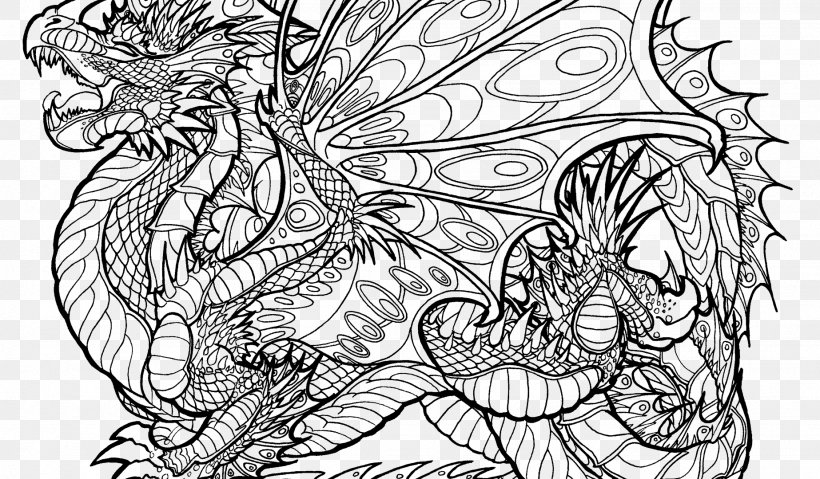 Coloring Book Colouring Pages Chinese Dragon Adult, PNG, 1846x1080px,  Coloring Book, Adult, Art, Artwork, Black And