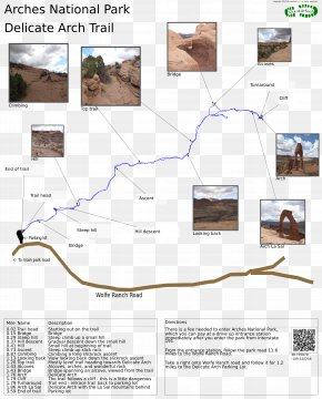 Park - Delicate Arch Trail Trail Map Hiking National Park PNG