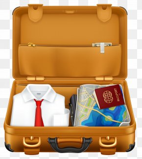 Brown Suitcase With Clothes And Passport Clipart Image - Suitcase Travel Baggage Stock Photography Clip Art PNG