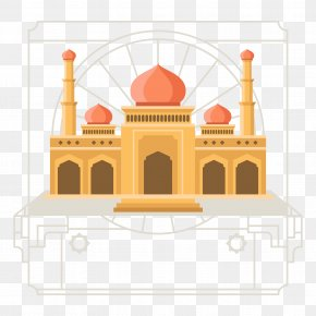 Islamic Style Architecture Vector Illustration - Mosque Islamic Architecture Flat Design PNG