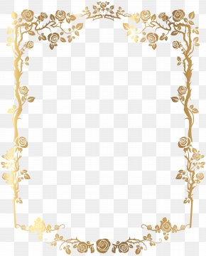 Golden Rectangular French Floral Border Picture - Picture Frame Clip Art PNG