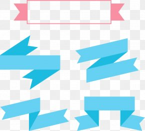 Vector Square Frame With Ribbon - Blue With Ribbon PNG