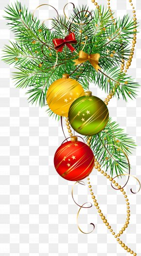 Three Christmas Balls With Pine Branch Clipart - Christmas Ornament Icon Clip Art PNG