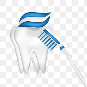 Blue Toothbrush And Tooth - Toothbrush Toothpaste Euclidean Vector PNG