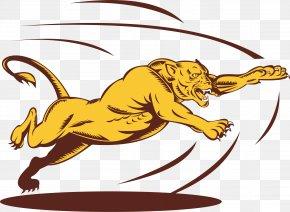 Vector Painted Leopard Jumping - Lion Cougar Big Cat Clip Art PNG