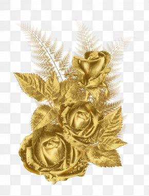 Gold - Gold Flower Rose Clip Art PNG