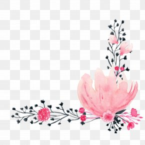 Pink Watercolor Flowers - Watercolor Painting Drawing Ink PNG
