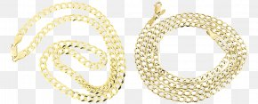 Cuban Link Gold Chain - Earring Necklace Chain Colored Gold PNG
