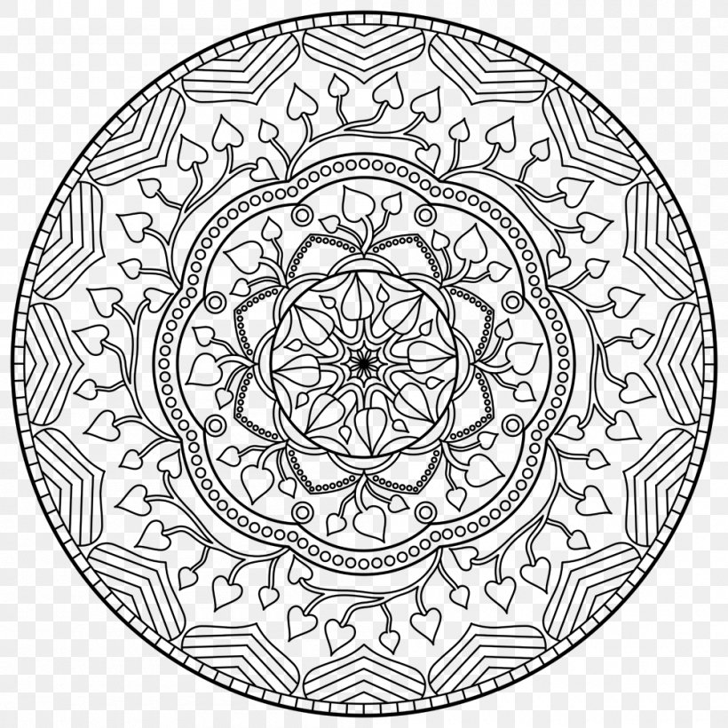 - Mandala Coloring Book Printing, PNG, 1000x1000px, Mandala, Adult, Area,  Black And White, Book Download Free