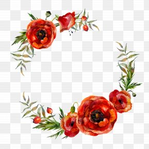Flower Garlands - Poppy Flowers Watercolor Painting PNG