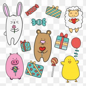Cartoon Animals And Gifts - Animal Drawing Cartoon PNG