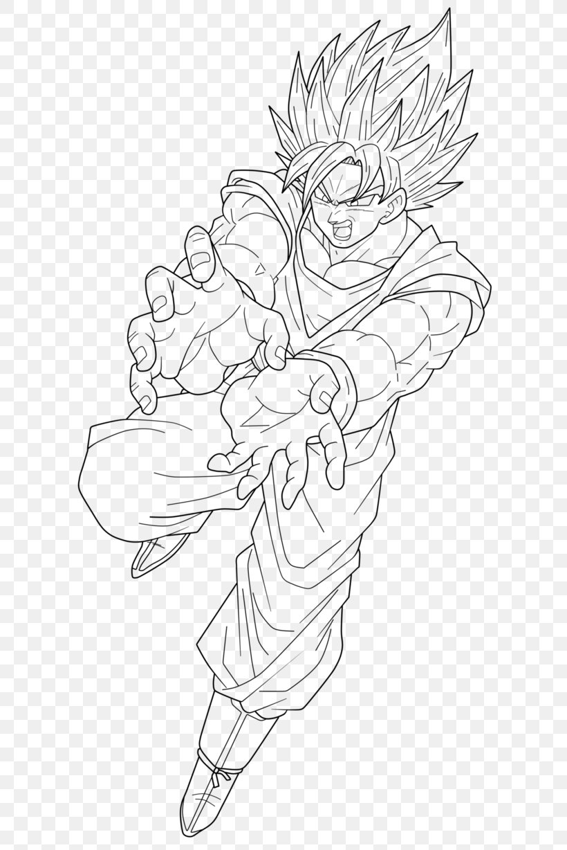 Goku Vegeta Drawing Super Saiyan Sketch Png 650x1228px