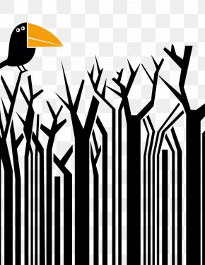Crow And Branches - Barcode Reader Universal Product Code Creativity PNG