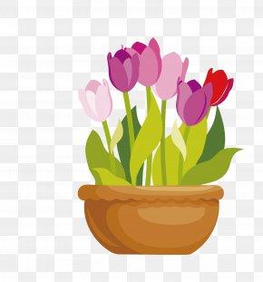 Vector Cartoon Flat Tulip - Flowerpot Drawing Clip Art PNG