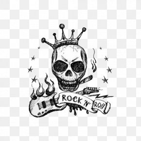 Skull And Guitar - Drawing Guitar Royalty-free Illustration PNG