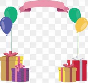 Gift Box BALLOON Birthday Frame - Birthday Gift PNG