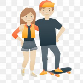 Cartoon Skateboard Couple Vector Illustration - Cartoon Euclidean Vector Illustration PNG