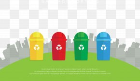 Vector Color Recyclable Trash Can - Waste Recycling Garbage Truck Garbage Disposal Unit Bin Bag PNG