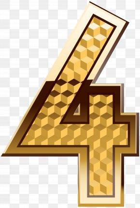 Gold Number Four Clip Art Image - Aaron Doral Sharon
