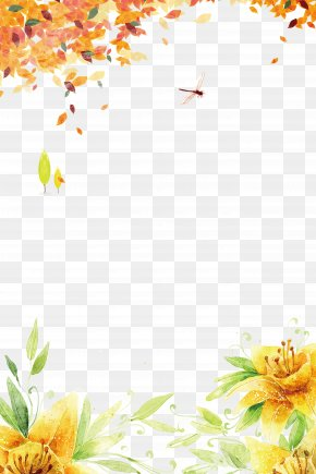 Fall Border Stock - Floral Design Yellow Pattern PNG