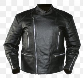Black Leather Jacket Image - Leather Jacket Hoodie PNG
