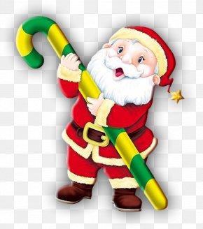 Santa Claus - Santa Claus Candy Cane Reindeer Christmas Clip Art PNG