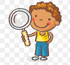 Take The Magnifying Glass Of The Little Boy Vector - Magnifying Glass Child Clip Art PNG