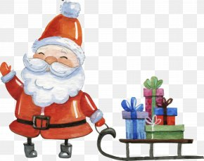 Painted Santa Claus With Sleigh - Santa Claus Public Holiday Boxing Day Christmas PNG